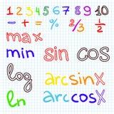 Wiskundeproblemen aangaande millimeterpapier met potlood Stock Afbeelding