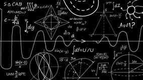 Wiskundevergelijkingen Het schrijven van een wiskundeformule op bord royalty-vrije illustratie