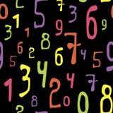 Wiskundig naadloos patroon met multicolored aantallen op een zwarte achtergrond royalty-vrije illustratie