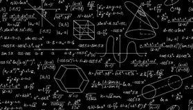 Wiskundig vector naadloos patroon met percelen, formules en geometrische cijfers Eindeloze wiskundetextuur Stock Foto