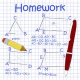 Wiskundige cijfers en formules doodle Stock Afbeeldingen