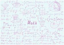 Wiskundige die formules met de hand op een notitieboekjepagina worden getrokken voor de achtergrond Vector illustratie vector illustratie