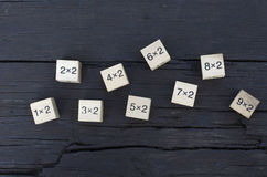 Wiskundige formule1x1 kubus op houten achtergrond Royalty-vrije Stock Foto