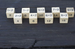 Wiskundige formule1x2 kubus op houten achtergrond Stock Foto