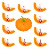 Wiskundige spelen voor kinderen Bestudeer de fractiesaantallen, voorbeeld met van een pompoen royalty-vrije illustratie