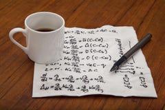 Wiskundige vergelijkingen van fysica stock fotografie