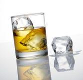 Wisky en ijsblokje stock afbeelding