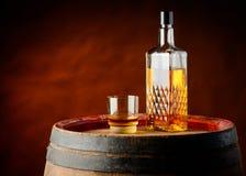 Wiskyglas en fles stock afbeelding
