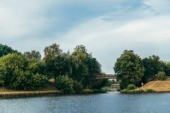 Wisla flod i solig dag Arkivbilder