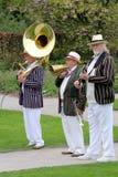 Wisley,萨里,英国- 2017年4月30日:传统的爵士乐三重奏在镶边bo 免版税库存照片