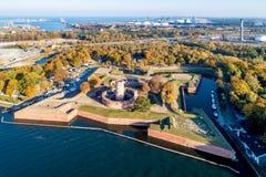 Wisloujscie堡垒和酷寒北风口岸在格但斯克,波兰 库存图片