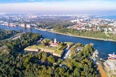 Wisloujscie堡垒在格但斯克,波兰 鸟瞰图 库存照片