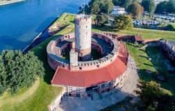 Wisloujscie fästning i Gdansk, Polen flyg- sikt Royaltyfria Bilder