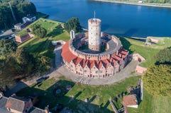 Wisloujscie-Festung in Gdansk, Polen Schattenbild des kauernden Geschäftsmannes Lizenzfreies Stockbild