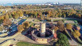 Wisloujscie Fortress and Port in Gdansk, Poland stock video footage