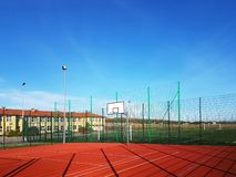 Wisniowa, Poland - 10 17, 2018: Modern basketball court in the courtyard of primary school. Multifunctional children`s playground stock photos