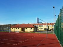 Wisniowa, Poland - 10 17, 2018: Modern basketball court in the courtyard of primary school. Multifunctional children`s playground royalty free stock image