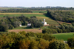 Wisonsin farm and silo. Pastoral wisconsin farm scene with silo and fields Stock Photo