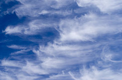 Wispy Clouds. A picture of wispy clouds with a blue sky Stock Photography