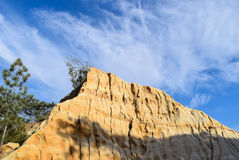 Wispy Clouds Over a Sandstone Cliff at Torrey Pines State Reserve in San Diego Stock Images