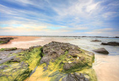 Wispy clouds and rocky tidal flows Stock Photography
