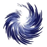 Wispy Feathery Blue Swirl. An abstract dark blue swirl design on a white isolated background Stock Images