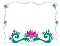 Wispy Frame with Lotus Flower Royalty Free Stock Image