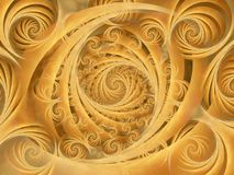 Wispy Gold Spirals Pattern. A series of swirls and spirals in a gold wispy oval texture pattern royalty free stock photo