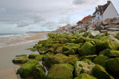 Wissant in Cote d`Opale, Pas-de-Calais, France: The sea front with colorful rocks Royalty Free Stock Photos