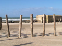 Wissant defences. World war 2 defences on the beach of Wissant Stock Image