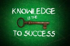 Wissen ist die Taste zum Erfolg Stockbild