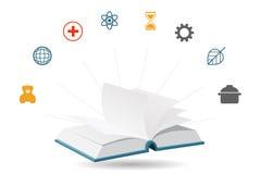 Wissens-Enzyklopädien-Buch, Vektor-Illustration Stockfotografie