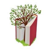 Wissensbaum mit Buchstaben vom offenen Buch Stockbilder