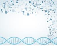 Wissenschaft auf lokalisiertem Hintergrund mit DNA-Thema und molekulares Lizenzfreie Stockfotos