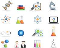 Wissenschaft führte die Ikone einzeln auf, die in farbenreiches eingestellt wurde Stockfotografie