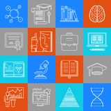 Wissenschaft und Bildung lineart minimales Vektor iconset auf karierter Mehrfarbenbeschaffenheit stock abbildung