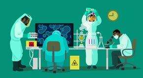 Wissenschaftler arbeiten mit Biogefahrstoffen lizenzfreie abbildung