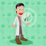 Wissenschaftler-Cartoon Character Cute-Chromosom-Vektor Stockfotos
