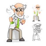 Wissenschaftler Cartoon Character Holding ein Becher und ein Reagenzglas mit dem Fühlen groß Stockbilder