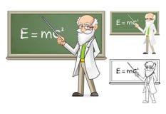 Wissenschaftler Cartoon Character Holding ein Zeiger-Stock Lizenzfreie Stockfotos