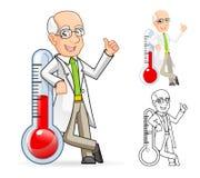 Wissenschaftler Cartoon Character Leaning gegen eine Temperatur Lizenzfreie Stockbilder