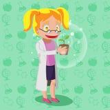 Wissenschaftler-Cartoon Character Woman-Anlage Lizenzfreies Stockfoto