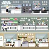 Wissenschaftler, der in der Laborvektorillustration arbeitet Wissenschaftslaborinnenraum Biologie-, Physik- und Chemiebildung Stockfoto