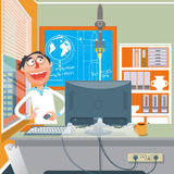 Wissenschaftler, der einen Experimentkarikaturvektor durchführt Stockbilder