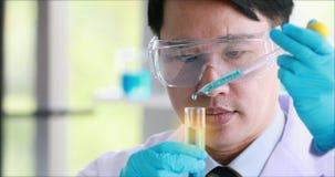 Wissenschaftler, der Experiment im Laborraum tut stock video