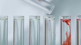 Wissenschaftler, der Reagens in den Reagenzgläsern, Leitexperiment am Labor hinzufügt stock video footage