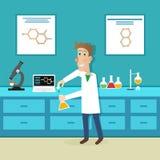 Wissenschaftler in der Wissenschaftsbildung Auch im corel abgehobenen Betrag stock abbildung
