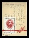 Wissenschaftler Dmitri Mendeleev u. x28; 1834-1907& x29; mit Korrekturen Formula-Autor UDSSR, circa 1969, Stockfoto