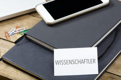 Wissenschaftler, German text for Scientist business card on offi Royalty Free Stock Photography