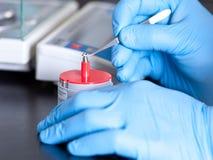 Wissenschaftler hält Standardgewicht mit Pinzette an stockbild